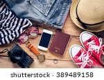 travel clothing accessories... | Shutterstock . vector #389489158