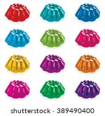 vector colorful gelatin jelly... | Shutterstock .eps vector #389490400