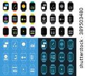 vector popular smart watch icons | Shutterstock .eps vector #389503480