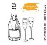 vector champagne bottle and... | Shutterstock .eps vector #389515129