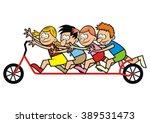 scooter and children  vector... | Shutterstock .eps vector #389531473