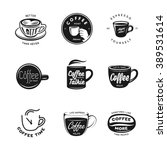 coffee related labels  badges... | Shutterstock .eps vector #389531614