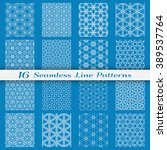 Set of 16 Seamless islamic patterns in arabian style. Stylish graphic monochrome geometric backgrounds collection, line art. Tribal ethnic ornament, vector collection.