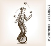 juggler man on retro vintage... | Shutterstock .eps vector #389538373
