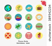 travel colored icons set | Shutterstock .eps vector #389542234