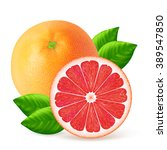 whole and cut grapefruits with... | Shutterstock .eps vector #389547850