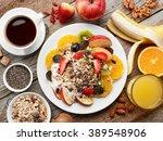 healthy breakfast ingredients... | Shutterstock . vector #389548906