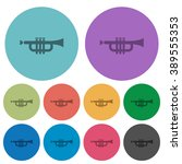 color trumpet flat icon set on...