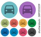 color car flat icon set on...