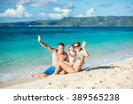 happy family of three waving... | Shutterstock . vector #389565238