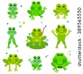 Cute Cartoon Frogs. Vector...