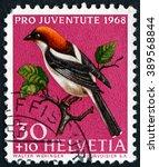 Small photo of CROATIA ZAGREB, 7 FEBRUARY 2016: a stamp printed in the Switzerland shows Woodchat Shrike, Lanius Senator, Bird, circa 1968