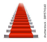 realistic stone ladder with red ... | Shutterstock . vector #389574160