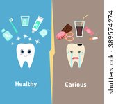 dental cartoon vector  compare... | Shutterstock .eps vector #389574274