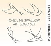 one line swallow art logo set | Shutterstock .eps vector #389576356