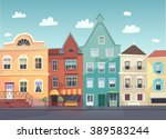 sunny city street. doors and... | Shutterstock .eps vector #389583244