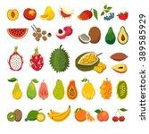 exotic fruits vector set. juicy ... | Shutterstock .eps vector #389585929
