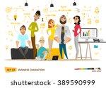 business characters scene.... | Shutterstock .eps vector #389590999