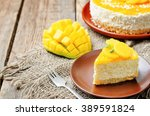 creamy mango mousse cake on a... | Shutterstock . vector #389591824