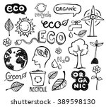 eco and organic doodles   icons.... | Shutterstock .eps vector #389598130