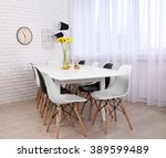 beautiful interior with table... | Shutterstock . vector #389599489