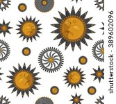 grunge flat sun  stars and gear ... | Shutterstock .eps vector #389602096