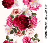 Stock vector beautiful seamless background with roses and hyacinth flowers vector illustration 389635519