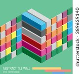 abstract colorful cube wall on... | Shutterstock .eps vector #389639140