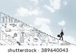 climbing up the career ladder | Shutterstock . vector #389640043