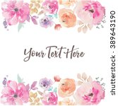 Stock vector watercolor flower vector background border 389643190