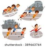 run race. running competition.... | Shutterstock .eps vector #389663764