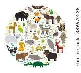 bison bat manatee fox elk horse ... | Shutterstock . vector #389670538