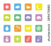 colorful flat weather icon set...