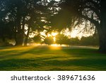 golf course at dawn.  | Shutterstock . vector #389671636