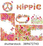 set of hippie backgrounds and... | Shutterstock .eps vector #389672743
