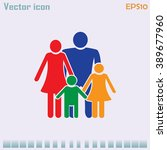 happy family icon in simple... | Shutterstock .eps vector #389677960