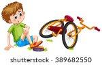 boy fallen off the bicycle...   Shutterstock .eps vector #389682550