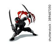 cartoon ninja in action | Shutterstock .eps vector #389687350