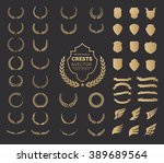 crest logo element set set of ... | Shutterstock .eps vector #389689564