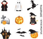 halloween illustration set of... | Shutterstock .eps vector #38968996