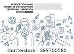 flat style  thin line art... | Shutterstock .eps vector #389700580