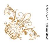premium gold vintage baroque... | Shutterstock .eps vector #389706079