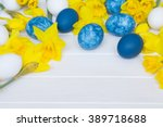 Background With Easter Eggs An...