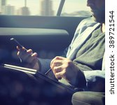 businessman using laptop in his ... | Shutterstock . vector #389721544