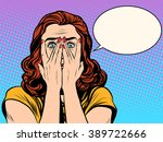 surprised shocked woman | Shutterstock .eps vector #389722666