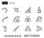 design vector icons set thin...