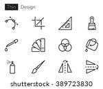 design vector icons set thin...