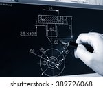engineer working on cad blue... | Shutterstock . vector #389726068