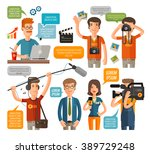 photographer and reporter ... | Shutterstock .eps vector #389729248
