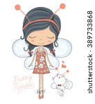 fairy vector cute girl vector t ... | Shutterstock .eps vector #389733868